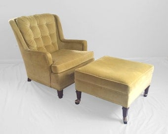 mid century CHARTREUSE velvet wing chair & ottoman from CENTURY furniture