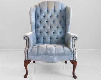 VINTAGE baby blue velvet tufted WING chair with nail head trim