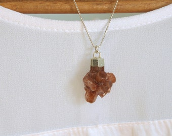 Raw Agate Rock Necklace Geode Agate Necklace Cluster Necklace