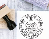 Personalized Christmas Address Stamp - Letterpress Ornament, Return Address, Holiday Stamp, Custom, Wooden Stamp, Rubber Stamp, Self Inking
