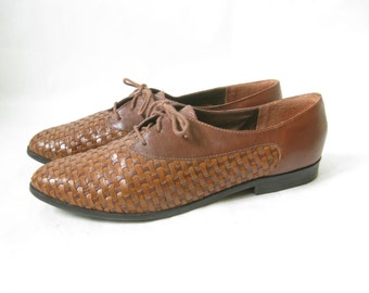 Vintage 80's Woven Leather Lace Up Oxfords. Size 10