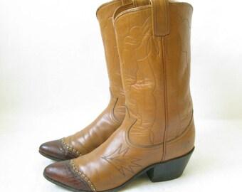 Vintage 70's TONY LAMA Two Tone Cowboy Boots. Size 6 1/2 Women's