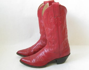 Vintage JUSTIN  Red Leather Cowboy Boots. Size 5 1/2 Women's