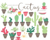 Cactus clipart - cactus clip art hand drawn cacti desert cactuses pots plant tribal clip art green pink floral instant download commercial