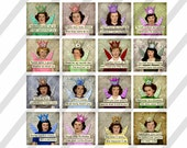 """Mature-Digital Collage Sheet, Square images, Funny Snarky Ladies, 4 Sizes 1.5"""", 2"""", 2.5"""", and 3"""" (Sheet no. FS273) Instant Download"""