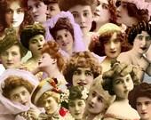 Digital Kit-32 -For Digital Art- Gorgeous Ladies,  Includes 20 Different Vintage Women, PNG files-Instant Download