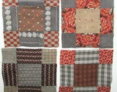 Group of 4 Antique Victorian 1890's Nine Patch Variation Quilt Squares w Cotton Calico Fabrics Quilt Squares or Blocks, Quilting, Mats