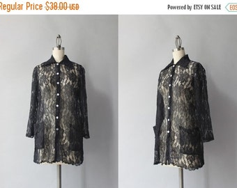 STOREWIDE SALE 1960s Black Lace Blouse / Vintage 60s Scalloped Lace Top / Sheer Lace Shirt with Pockets