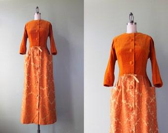 Vintage 1960s Dress / 60s Damask Maxi Dress / 1960s Pumpkin Brocade Tony Krupa Dress