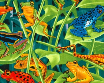 Frogs Rainforest Timeless Treasures Fabric 1 yard