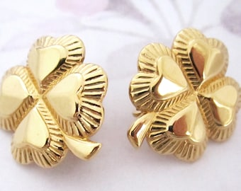 vintage gold tone four leaf clover good luck clip on earrings - j6171
