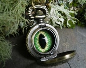 Gothic Steampunk Mini Pocket Watch with Green Eye Necklace
