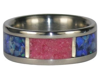 Blue Opal and Ruby Titanium Ring