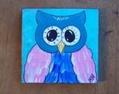 Owl Painting Fun Whimsical Original Folk Art Painting FREE SHIPPING