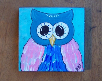 Owl Painting Fun Whimsical Original Folk Art Painting FREE SHIPPING