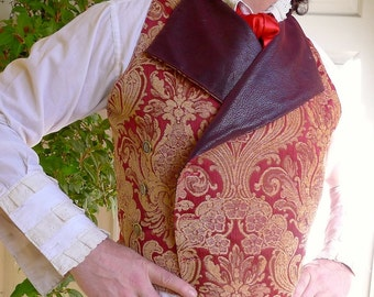 Maroon and Gold Tapestry  Steampunk Victorian Double Breasted Lapeled Gentlemen's Vest