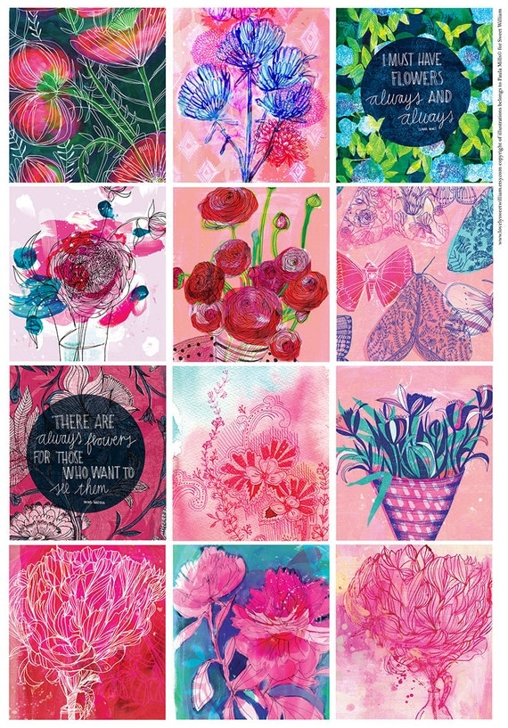 Beautiful Floral Tags DIY printable digital download Set of 12 Sweet William illustration tags