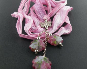 Pink Morning Glory Lampwork Glass Bead Pendant by Chase Designs