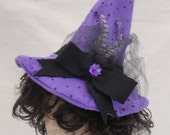 Purple and Black Felt  Polka-Dots WITCH Hat, Halloween costume hat, feathers, netting