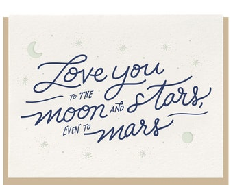 Letterpress 'Love You To The Moon And Stars' Card