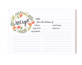 Summer Blooms Recipe Cards  - Set of 50 // 1canoe2 // Hand Illustrated