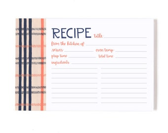 Fireside Plaid Recipe Cards - Set of 15 // 1canoe2 // Hand illustrated