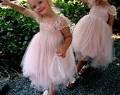 Mia RUE DEL SOL French lace and silk tulle dress for baby girl Flower girl dress blush princess dress tutu dress