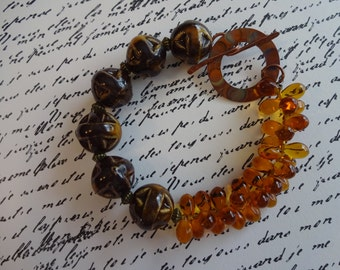 Amber and Basketweave Beaded Bracelet with Artisan Copper Clasp