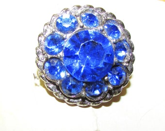 "Vintage 1950's Buttons Blue Rhinestone Buttons Matching Pair Shank Style on Original Card 1"" Rounds"