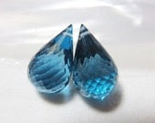 Deep London Blue Topaz Faceted Pear Briolette 10x17mm - One Pair