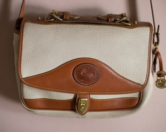 Dooney & Bourke Cream and Brown Trim Crossbody Purse // Off White Pebbled All Weather Leather Purse Handbag