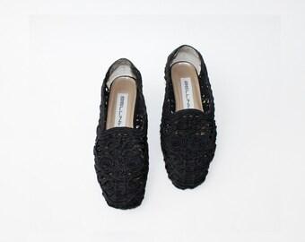 1980's Black Lace Baroque Heels