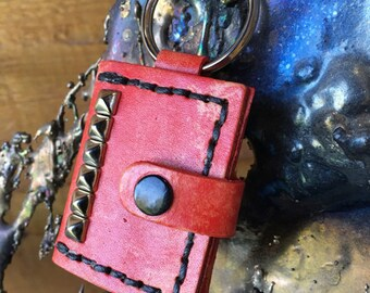 Red leather picture frame keyring