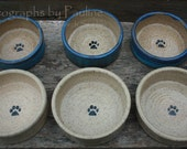 RESERVED for Leonard.  A Set of Six Small Pet Dishes: 3 Blue and Cream, 3 Cream