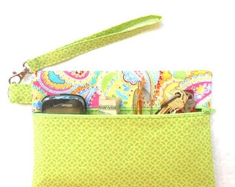 Fabric Wristlet, Lime Green With Pink Green Paisley Contrast Clutch, Wallet With Strap, Front Zippered Purse, Paisley Camera or Makeup Pouch