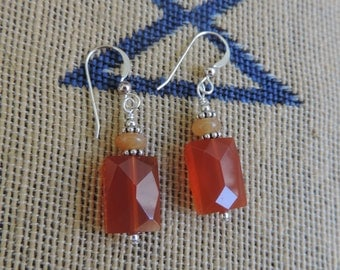 Carnelian Sterling Silver Earrings Simple and Elegant