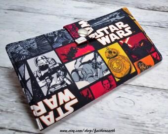 Star Wars Handmade Long fandom geek Wallet  BiFold Clutch- Vegan Wallet - star wars wallet