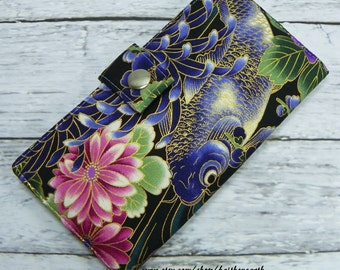 Asian Koi wallet - Handmade Long Wallet BiFold Clutch koi