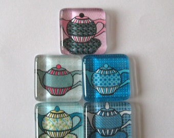 Tea Lover's Square Glass Magnets Set of 5