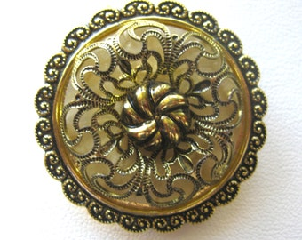 West Germany Filigree Dress or Scarf Clip or Slide / Gold Tone Metal Scarf Slide / Regal