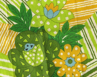 Mod Kitchen Tea Towel in a Large Floral Print - Greens and Golds on  Natural Linen / Table Runner