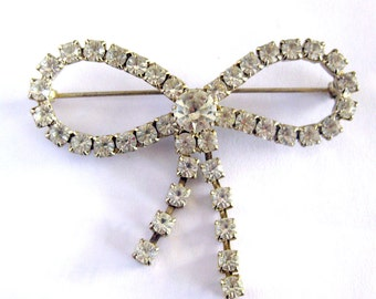 Vintage Silver Rhinestone Bow Brooch / Large Sparkly Bow Pin