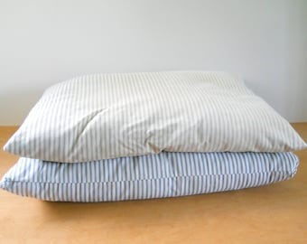 Vintage Feather Tick Pillows • Pair of Vintage Blue Stripped Feather Pillows