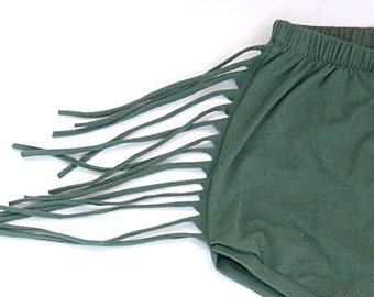 Toddler's green Fringe Shorts