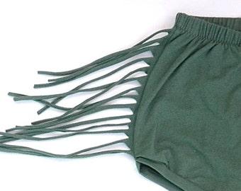 Toddler's Green Fringe Bloomer Shorts
