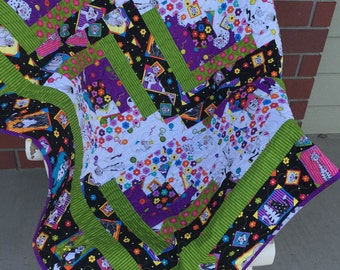 Cute Cats Patchwork Quilt - Log Cabin Crazy Cats 53x68 inches
