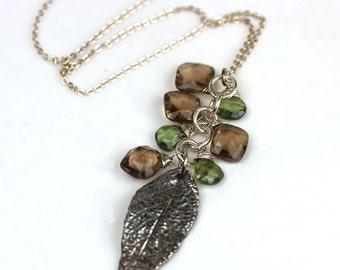 Handmade Leaf Necklace with Gemstone Cluster