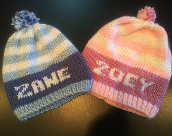 Personalized Hand Knit Boy or Girl Stocking Hat Cap with pompom topper