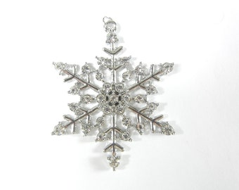 Snowflake Charm Pendant Silver-tone Rhinestones
