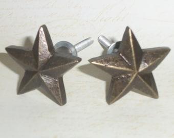 Primitive Country Western Star Brass Drawer Knob Pulls Set of 2